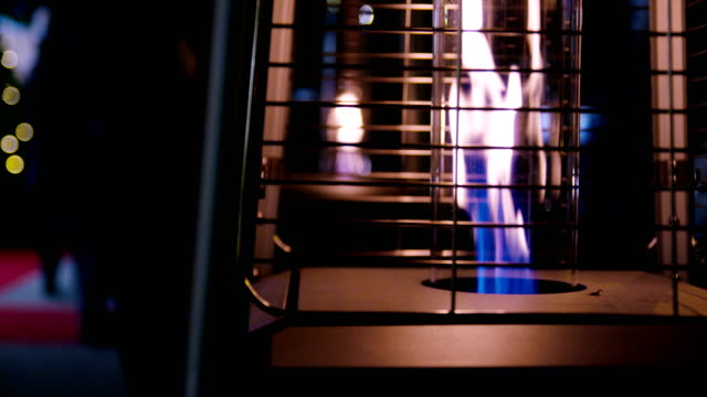 Outdoor gas heater slowmotion video