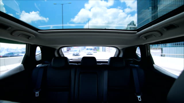 Outdoor glass roof top car cabin. video