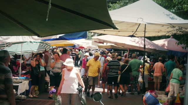Outdoor market in Greece video