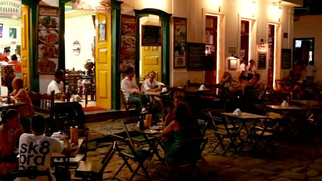 outdoor restaurants of Paraty Brazil video