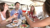 Outdoor Slow Motion Shot Of People Eating Meal In Restaurant video