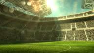 Outdoor soccer stadium on sunlight video