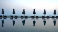 Outdoor swimming pool in hotel and resort video