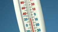 Outdoor Thermometer against Blue Sky Climbing Temperature video