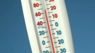 Outdoor Thermometer against Blue Sky Falling Temperature video