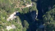 Over Rocky Outcrop In Gorge Du Tarn  - Aerial View - Languedoc-Roussillon, Lozère, Arrondissement de Florac, France video
