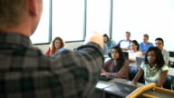 Over the Shoulder View Of University Tutor Teaching Class video