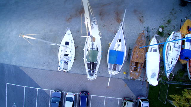 Over the top view of the boats parked video