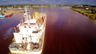 Over the top view of the huge industrial ship video