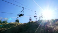 overhead cable car with sunbeam video