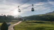 Overhead cable car with sunlight in Alps, Time Lapse video