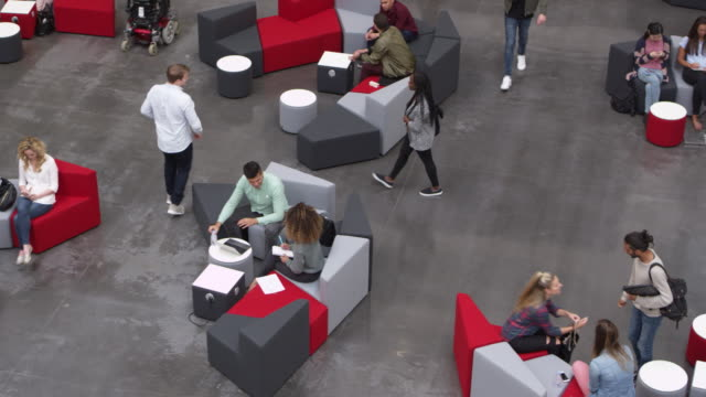 Overhead shot of students in a busy university lobby, shot on R3D video
