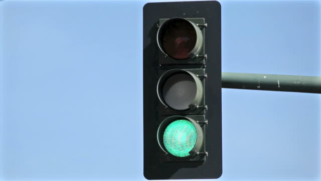 Overhead Traffic Light Changing video