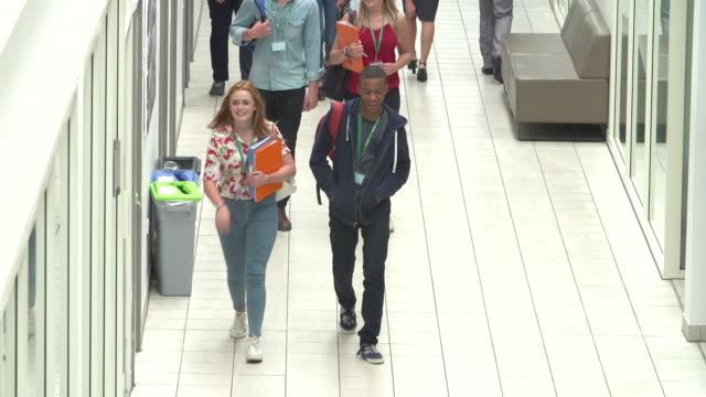 Overhead View Of College Students Walking In Hallway video