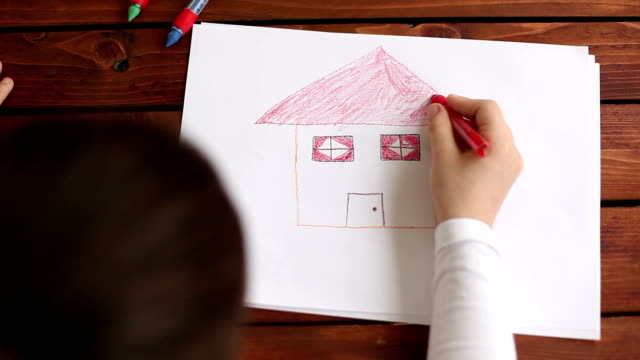 Overhead view of girl drawing on the white paper video