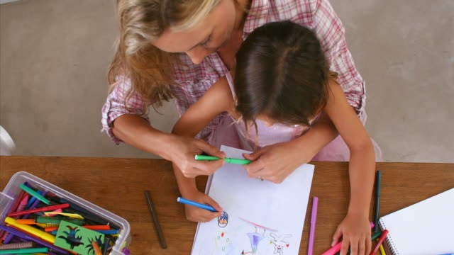 Overhead View Of Mother And Daughter Coloring Picture video
