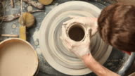 Overhead view of pottery wheel video