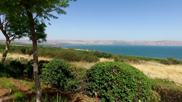 Overlooking Sea of Galilee on Clear Day video