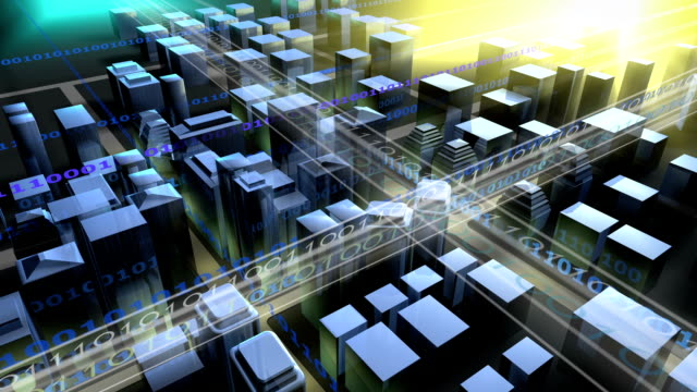 Overlooking the digital city.3D Rendering. video