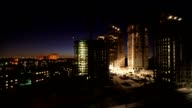 Overview of construction site in night video