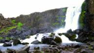 Oxararfoss waterfall at Thingvellir National park video