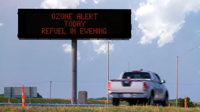 Ozone Alert Highway Sign HD video