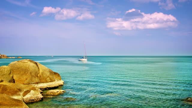 Pacific sea, stone and boat video