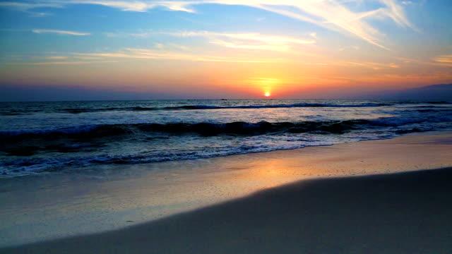 Pacific sunset on Santa Monica beach California USA video