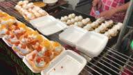 Packing Thai crispy pancake in foam box , Bangkok , Thailand video