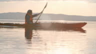 Paddling a Boat in the Evening video