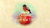 Painted In Watercolor Christmas Card With Bullfinch video