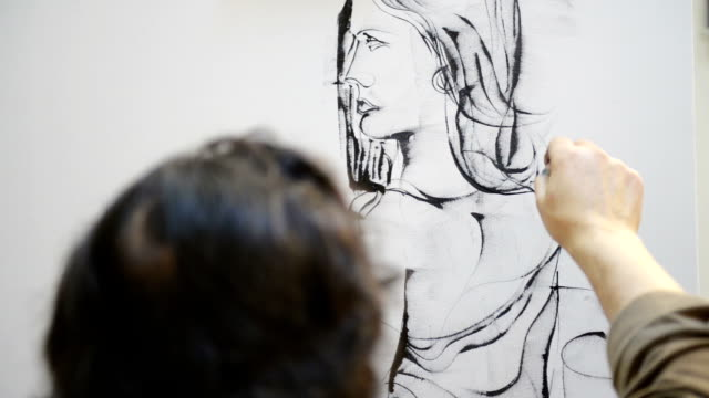 Painter drawing a woman video