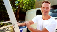Painter with thumbs up video