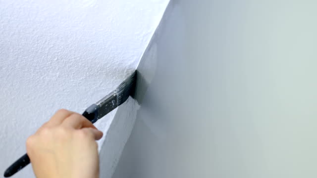 Painting top edge of gray wall with a brush video