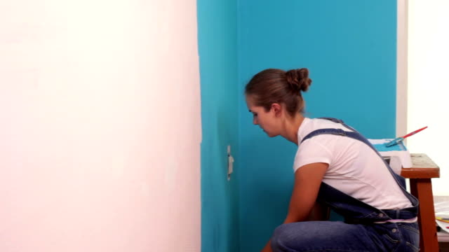 Painting Walls blue. video