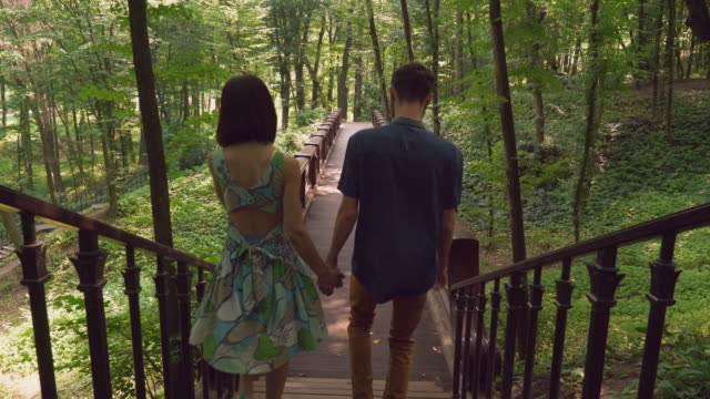 Pair in love walking in the forester video