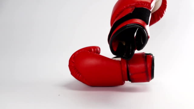 Pair of red leather boxing gloves fall and bounce isolated on white video
