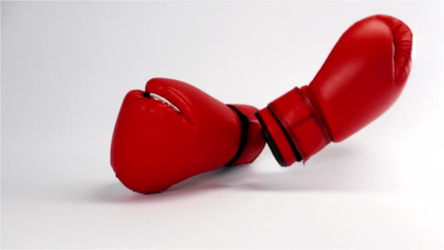 Pair of red leather boxing gloves falling and bouncing isolated on white video