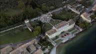 Palace On Bank Of Lake Garda  - Aerial View - Lombardy, Provincia di Brescia, Gargnano, Italy video