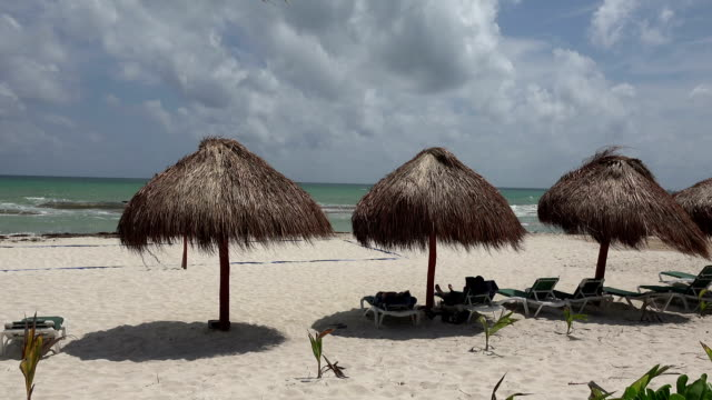 Palapa Perfect Beach Shade - Closeup Pan video