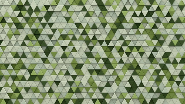 Pale green extruded triangles background 3D render loopable video