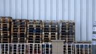 Pallets Stacked Outside video