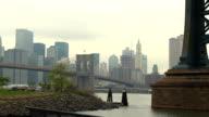 Pan across bridges and NYC skyline video