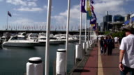 Pan from boats to people walking at Darling harbour video