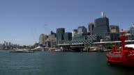 Pan from Darling harbour skyline view from the national maritime museum video