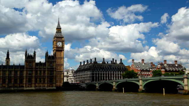 Pan from Westminster Bridge to The Houses of Parliament video