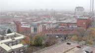 Pan of Birmingham City Centre Skyline - High Rise Buildings, Car Park, Flats video