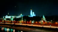 Pan of Moscow Kremlin and Moskva river in the night video