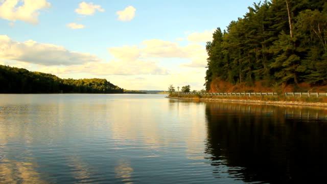 Pan of Peaceful Mountain Lake video