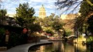 Pan of the beautiful Riverwalk in San Antonio, Texas video